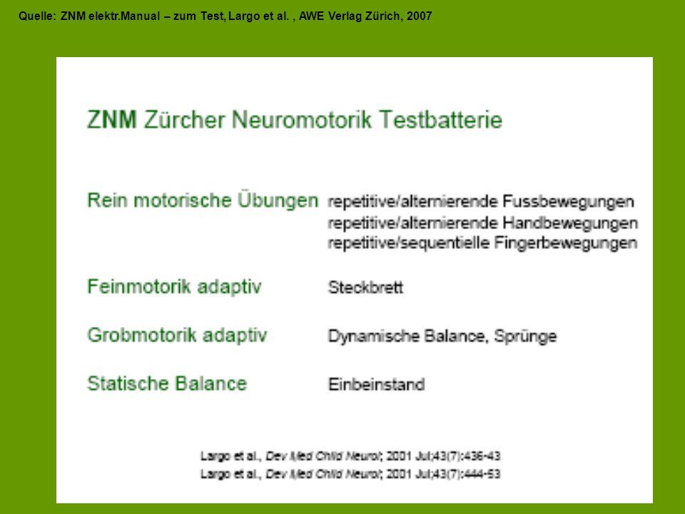 Quelle: ZNM elektr.Manual – zum Test, Largo et al., AWE Verlag Zürich, 2007