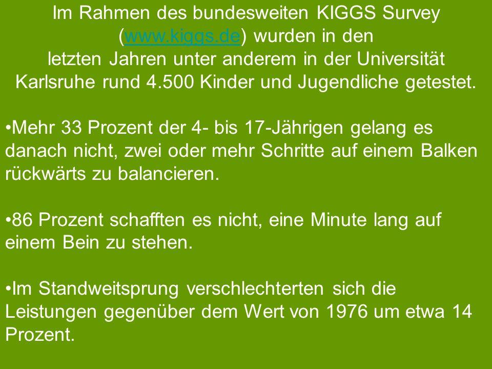 Im Rahmen des bundesweiten KIGGS Survey (www.kiggs.de) wurden in denwww.kiggs.de letzten Jahren unter anderem in der Universität Karlsruhe rund 4.500