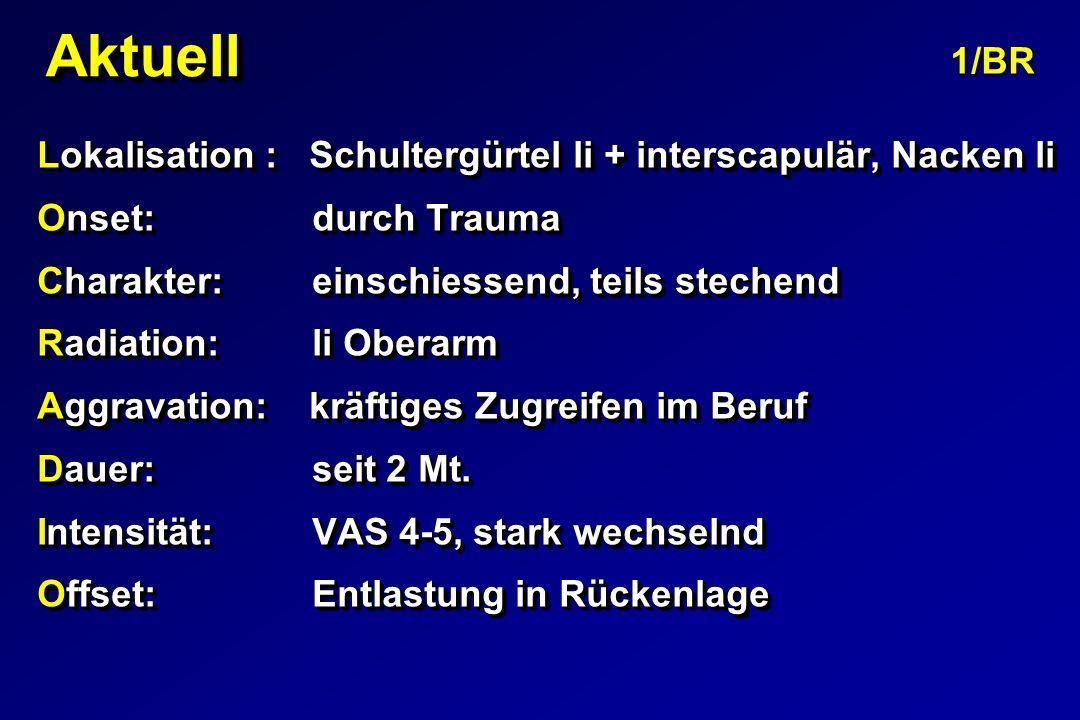 AktuellAktuell Lokalisation : Schultergürtel li + interscapulär, Nacken li Onset: durch Trauma Charakter: einschiessend, teils stechend Radiation: li