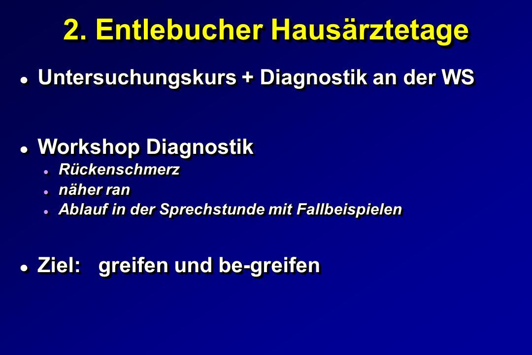 l Untersuchungskurs + Diagnostik an der WS l Workshop Diagnostik l Rückenschmerz l näher ran l Ablauf in der Sprechstunde mit Fallbeispielen l Ziel: greifen und be-greifen l Untersuchungskurs + Diagnostik an der WS l Workshop Diagnostik l Rückenschmerz l näher ran l Ablauf in der Sprechstunde mit Fallbeispielen l Ziel: greifen und be-greifen