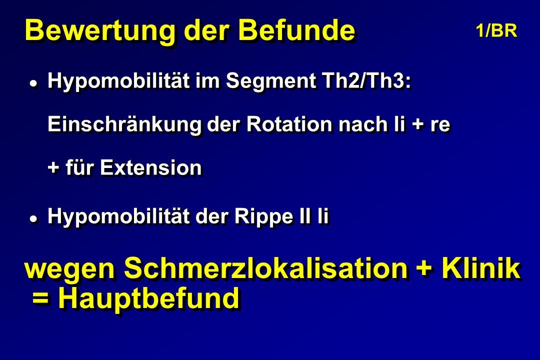 Bewertung der Befunde l Hypomobilität im Segment Th2/Th3: Einschränkung der Rotation nach li + re + für Extension l Hypomobilität der Rippe II li l Hypomobilität im Segment Th2/Th3: Einschränkung der Rotation nach li + re + für Extension l Hypomobilität der Rippe II li 1/BR wegen Schmerzlokalisation + Klinik = Hauptbefund