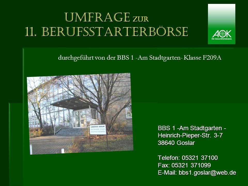 Umfrage zur 11. Berufsstarterbörse BBS 1 -Am Stadtgarten - Heinrich-Pieper-Str. 3-7 38640 Goslar Telefon: 05321 37100 Fax: 05321 371099 E-Mail: bbs1.g