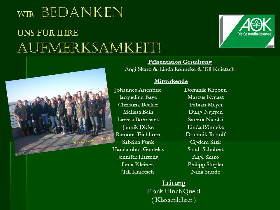 Wir bedanken uns für Ihre Aufmerksamkeit! Präsentation Gestaltung Angi Skaro & Linda Rönneke & Till Knietsch Johannes Aisenbrie Jacqueline Baye Christ
