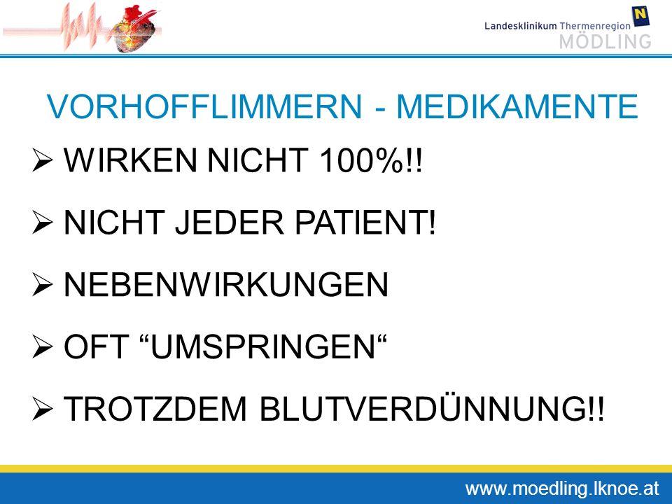 www.moedling.lknoe.at VORHOFFLIMMERN - MEDIKAMENTE WIRKEN NICHT 100%!! NICHT JEDER PATIENT! NEBENWIRKUNGEN TROTZDEM BLUTVERDÜNNUNG!! OFT UMSPRINGEN