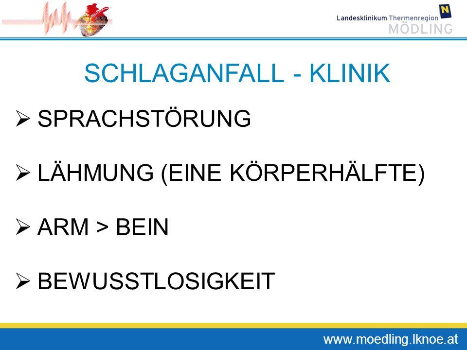 www.moedling.lknoe.at SCHLAGANFALL - KLINIK SPRACHSTÖRUNG LÄHMUNG (EINE KÖRPERHÄLFTE) ARM > BEIN BEWUSSTLOSIGKEIT