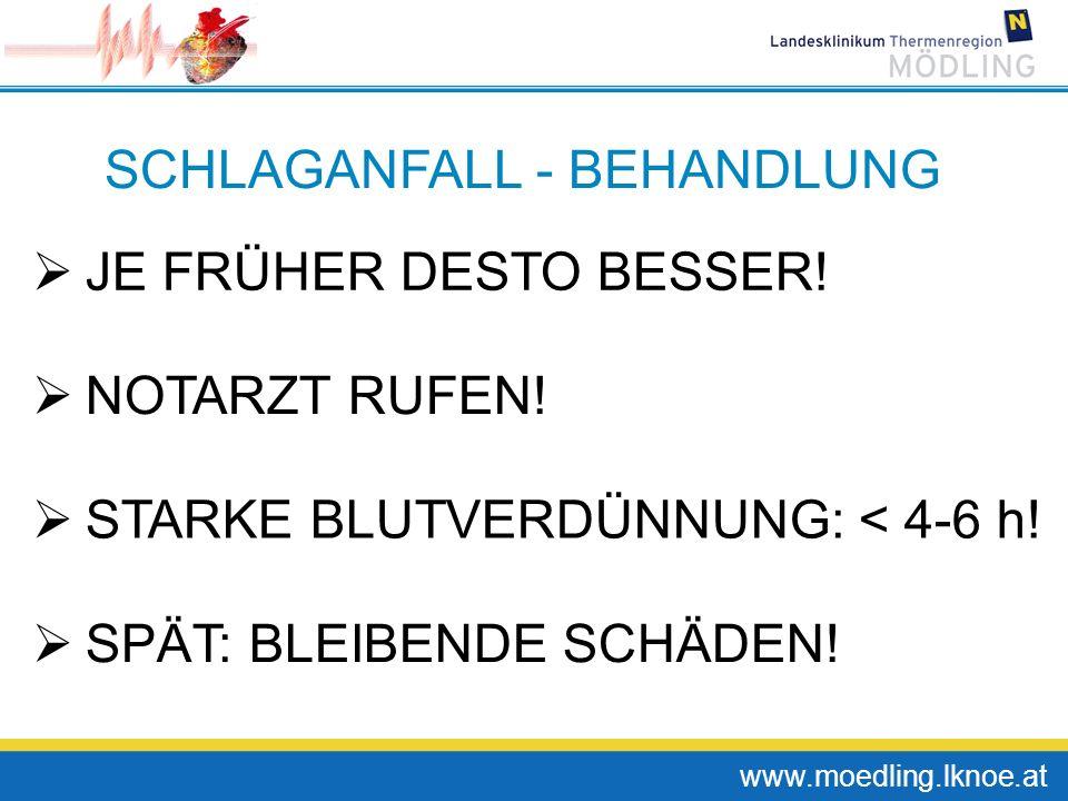 www.moedling.lknoe.at SCHLAGANFALL - BEHANDLUNG JE FRÜHER DESTO BESSER! NOTARZT RUFEN! STARKE BLUTVERDÜNNUNG: < 4-6 h! SPÄT: BLEIBENDE SCHÄDEN!