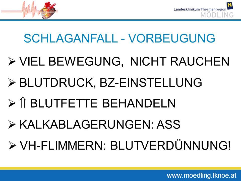 www.moedling.lknoe.at SCHLAGANFALL - VORBEUGUNG VIEL BEWEGUNG, NICHT RAUCHEN BLUTDRUCK, BZ-EINSTELLUNG BLUTFETTE BEHANDELN KALKABLAGERUNGEN: ASS VH-FL