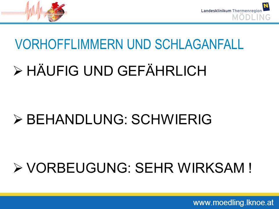 www.moedling.lknoe.at VORHOFFLIMMERN UND SCHLAGANFALL HÄUFIG UND GEFÄHRLICH BEHANDLUNG: SCHWIERIG VORBEUGUNG: SEHR WIRKSAM !
