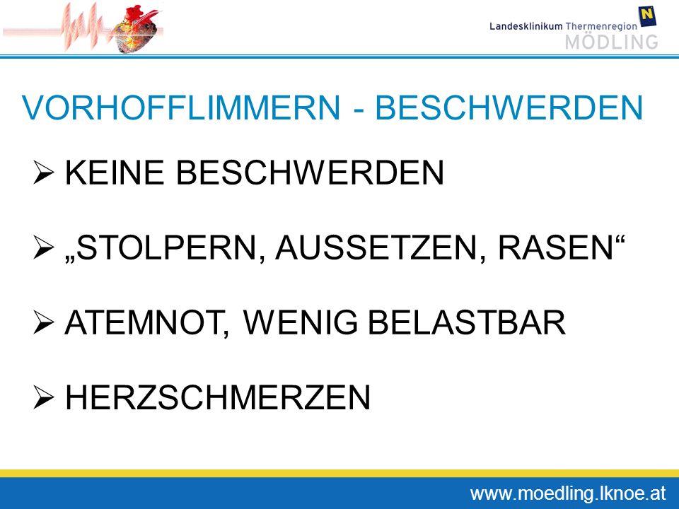 www.moedling.lknoe.at VORHOFFLIMMERN - BESCHWERDEN KEINE BESCHWERDEN STOLPERN, AUSSETZEN, RASEN ATEMNOT, WENIG BELASTBAR HERZSCHMERZEN