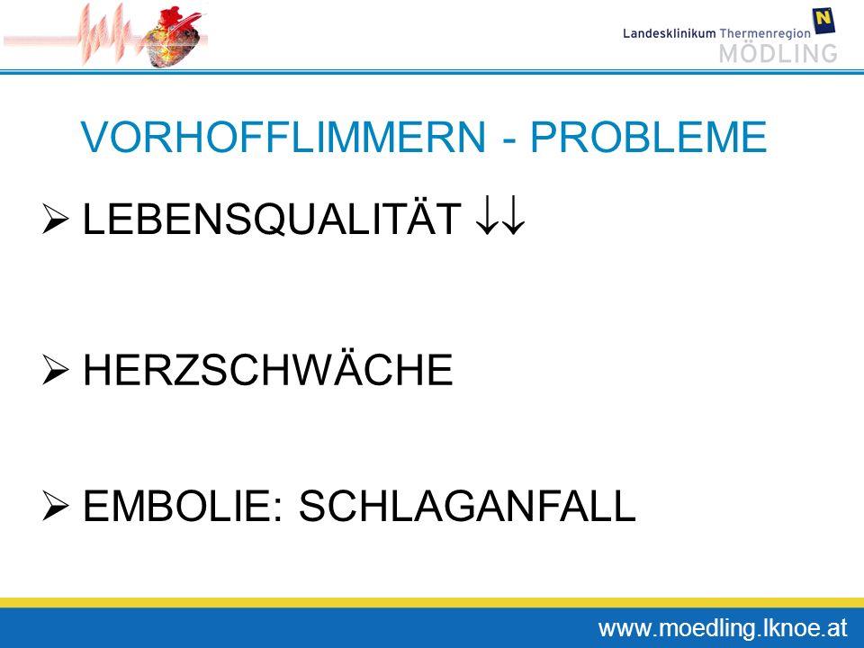www.moedling.lknoe.at VORHOFFLIMMERN - PROBLEME LEBENSQUALITÄT HERZSCHWÄCHE EMBOLIE: SCHLAGANFALL