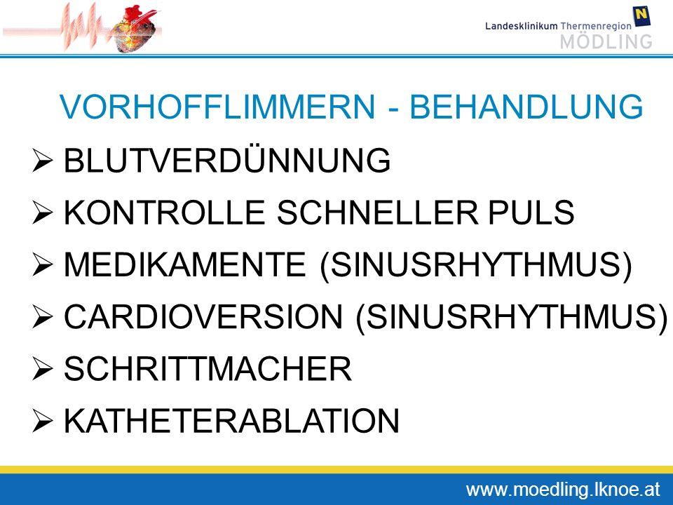 www.moedling.lknoe.at VORHOFFLIMMERN - BEHANDLUNG BLUTVERDÜNNUNG KONTROLLE SCHNELLER PULS MEDIKAMENTE (SINUSRHYTHMUS) KATHETERABLATION SCHRITTMACHER C