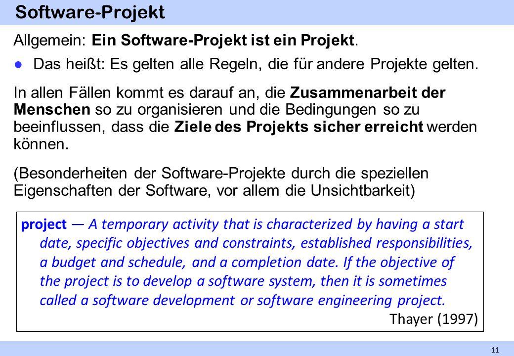 Software-Projekt Allgemein: Ein Software-Projekt ist ein Projekt. Das heißt: Es gelten alle Regeln, die für andere Projekte gelten. In allen Fällen ko