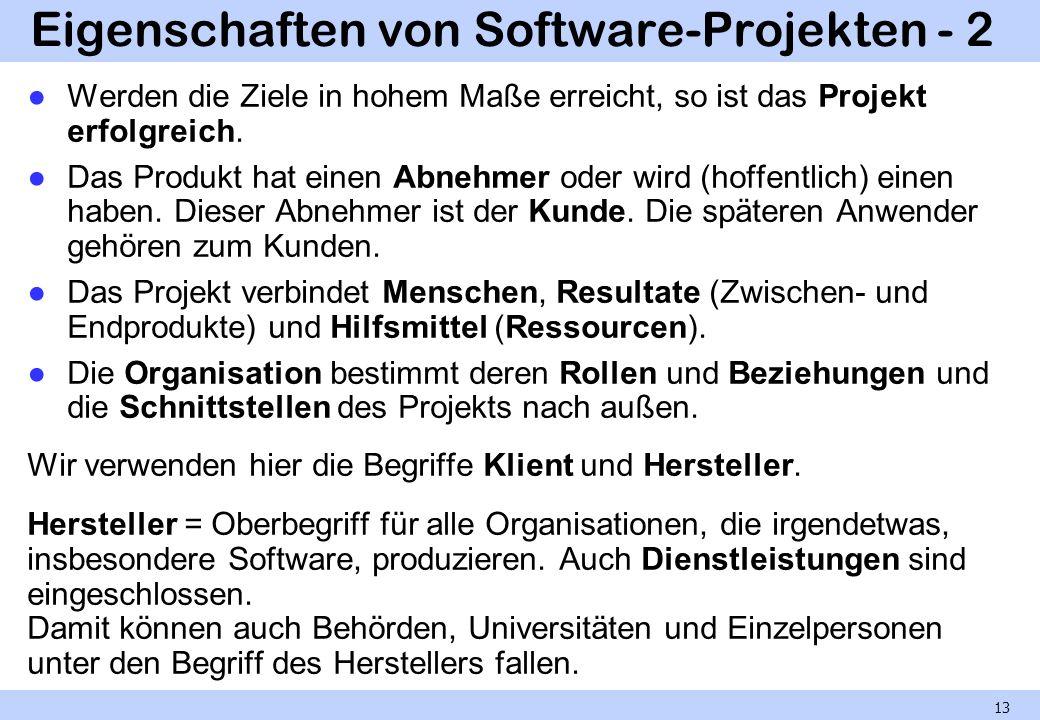 Eigenschaften von Software-Projekten - 2 Werden die Ziele in hohem Maße erreicht, so ist das Projekt erfolgreich. Das Produkt hat einen Abnehmer oder