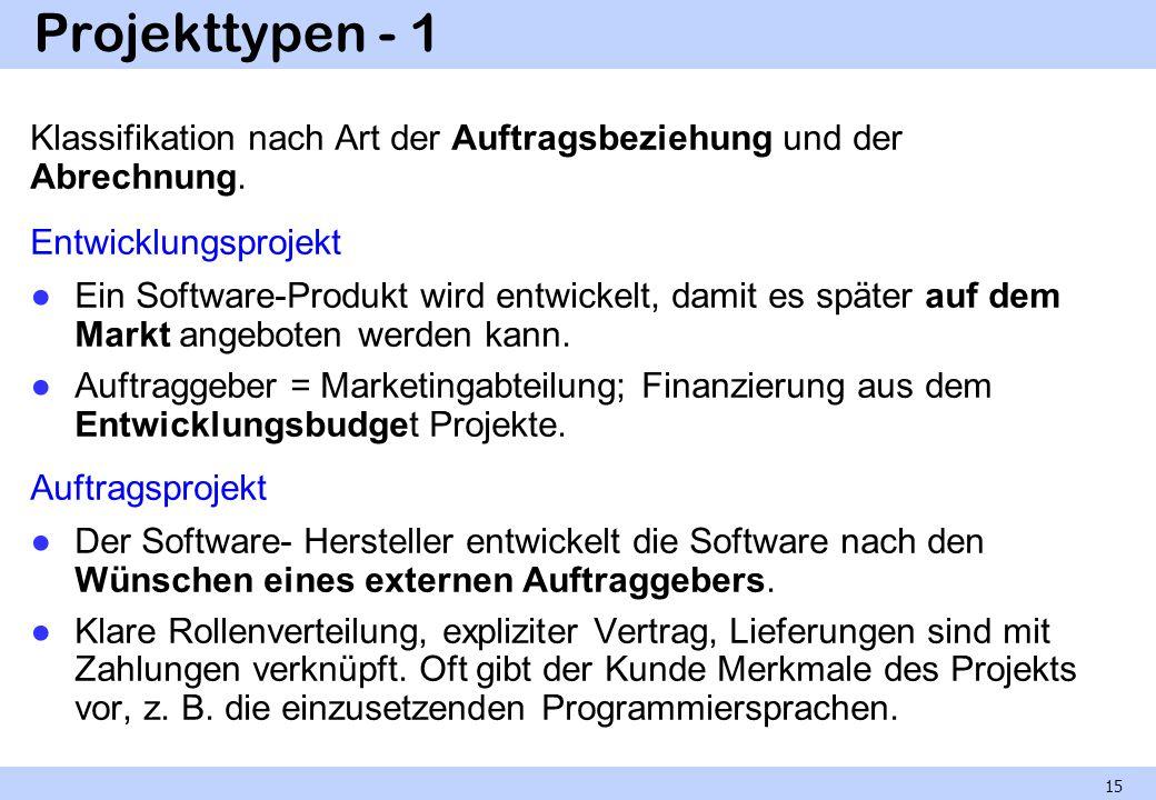 Projekttypen - 1 Klassifikation nach Art der Auftragsbeziehung und der Abrechnung. Entwicklungsprojekt Ein Software-Produkt wird entwickelt, damit es