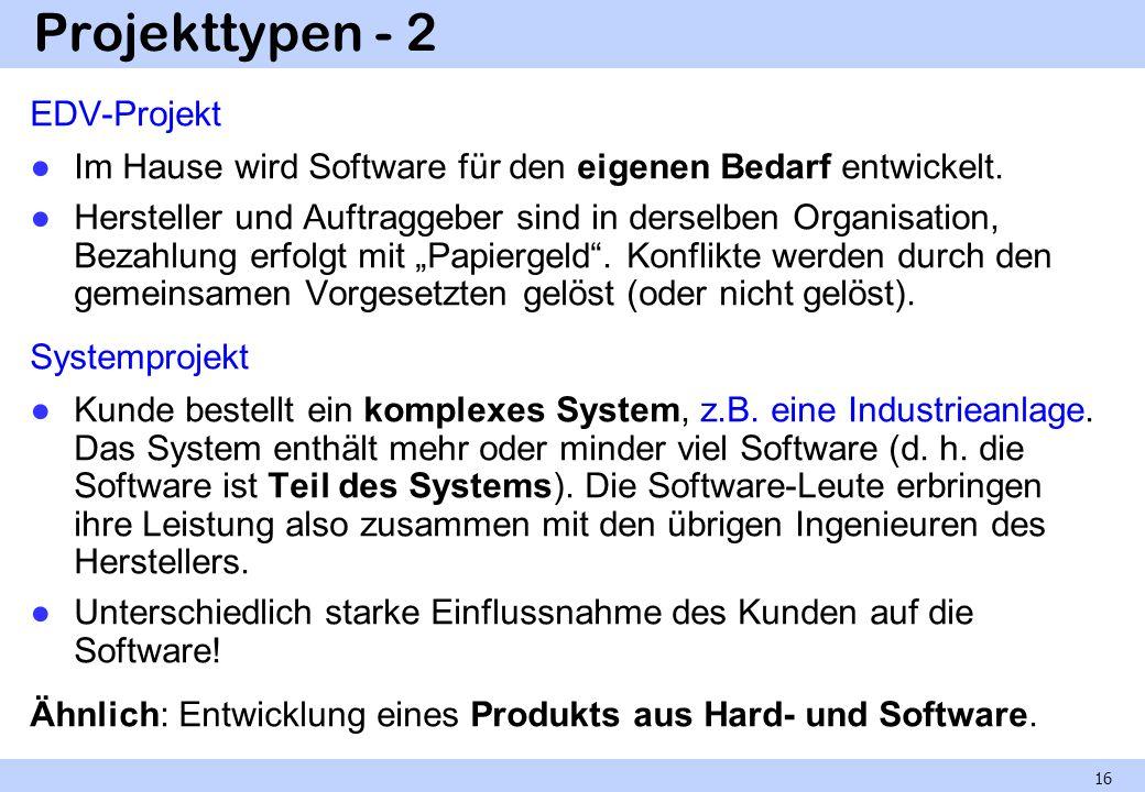 Projekttypen - 2 EDV-Projekt Im Hause wird Software für den eigenen Bedarf entwickelt. Hersteller und Auftraggeber sind in derselben Organisation, Bez