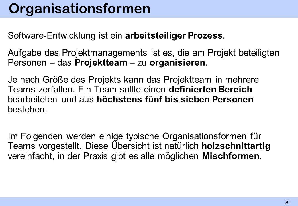 Organisationsformen Software-Entwicklung ist ein arbeitsteiliger Prozess. Aufgabe des Projektmanagements ist es, die am Projekt beteiligten Personen –