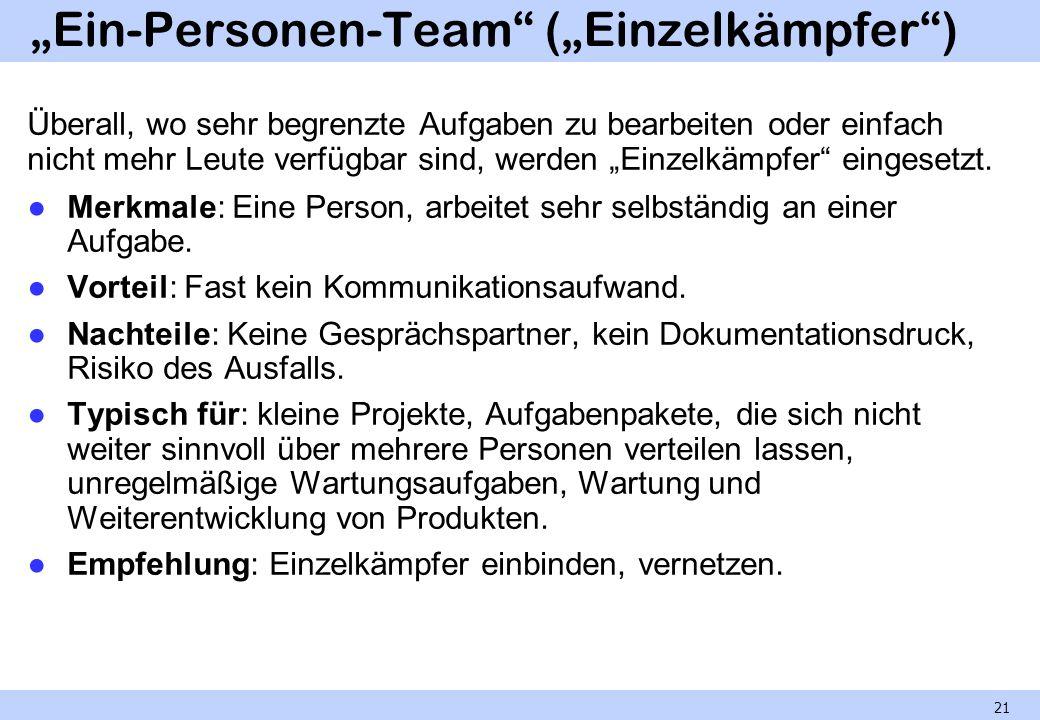 Ein-Personen-Team (Einzelkämpfer) Überall, wo sehr begrenzte Aufgaben zu bearbeiten oder einfach nicht mehr Leute verfügbar sind, werden Einzelkämpfer eingesetzt.