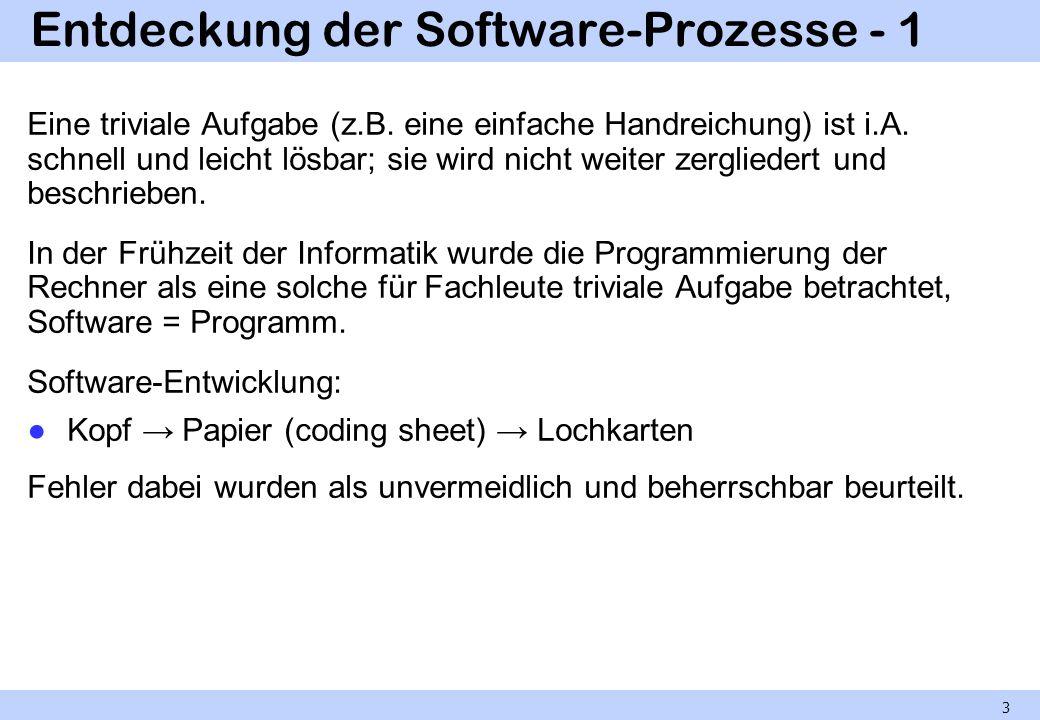 Entdeckung der Software-Prozesse - 1 Eine triviale Aufgabe (z.B. eine einfache Handreichung) ist i.A. schnell und leicht lösbar; sie wird nicht weiter