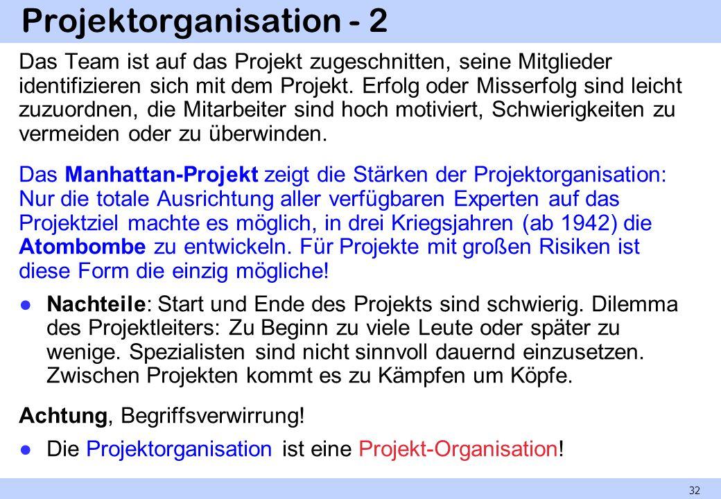 Projektorganisation - 2 Das Team ist auf das Projekt zugeschnitten, seine Mitglieder identifizieren sich mit dem Projekt. Erfolg oder Misserfolg sind