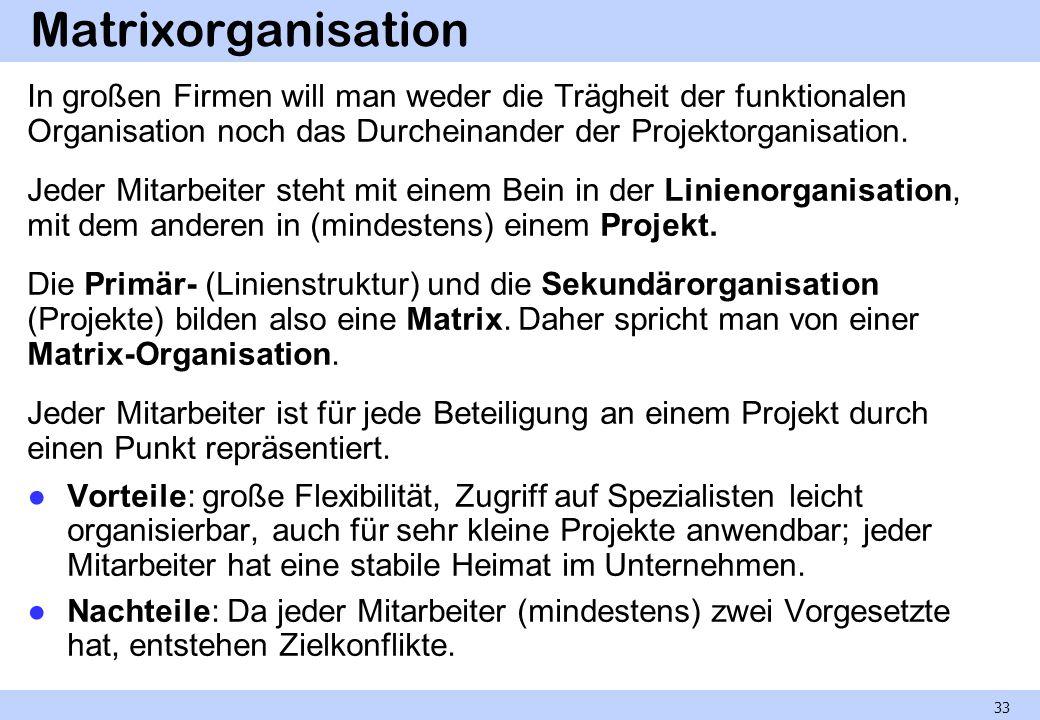 Matrixorganisation In großen Firmen will man weder die Trägheit der funktionalen Organisation noch das Durcheinander der Projektorganisation. Jeder Mi