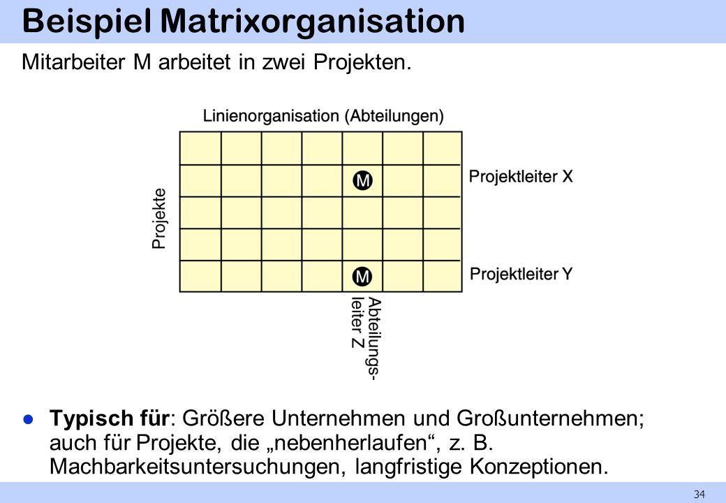 Beispiel Matrixorganisation Mitarbeiter M arbeitet in zwei Projekten. Typisch für: Größere Unternehmen und Großunternehmen; auch für Projekte, die neb