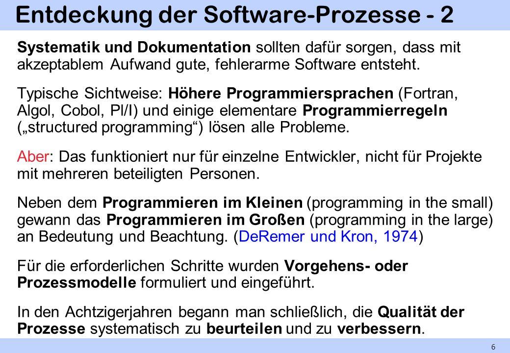 Entdeckung der Software-Prozesse - 2 6 Systematik und Dokumentation sollten dafür sorgen, dass mit akzeptablem Aufwand gute, fehlerarme Software entsteht.