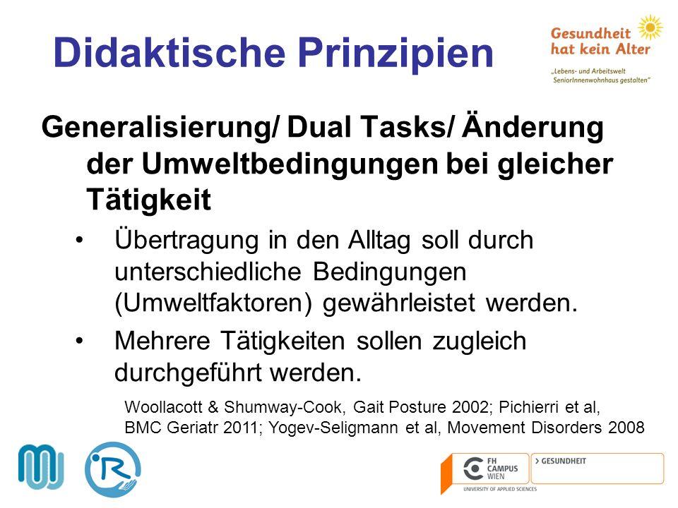 Didaktische Prinzipien Generalisierung/ Dual Tasks/ Änderung der Umweltbedingungen bei gleicher Tätigkeit Übertragung in den Alltag soll durch untersc