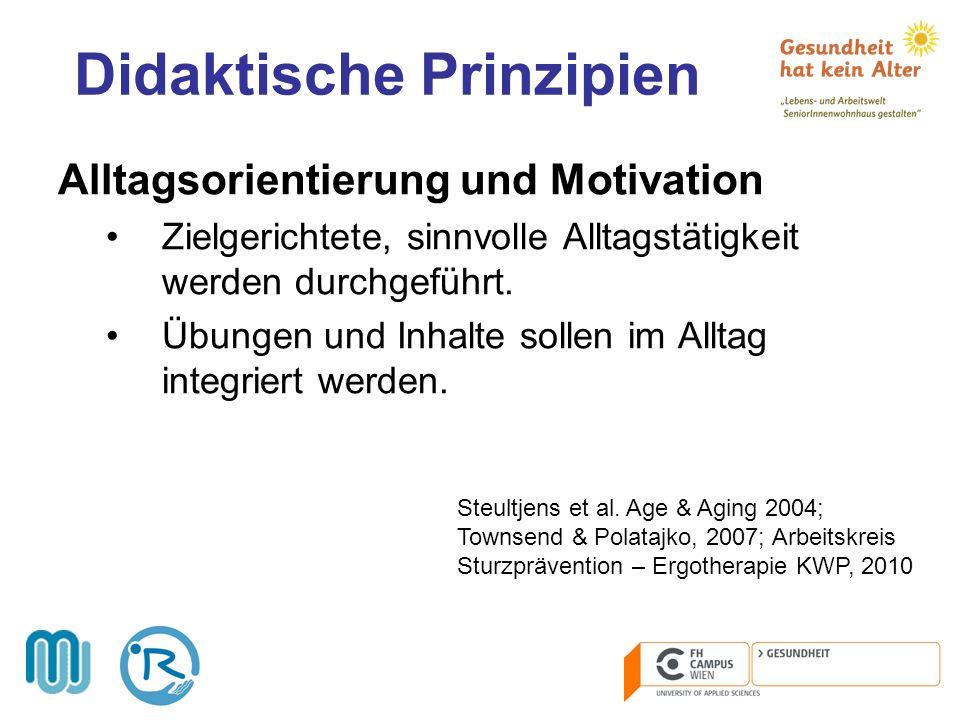 Didaktische Prinzipien Alltagsorientierung und Motivation Zielgerichtete, sinnvolle Alltagstätigkeit werden durchgeführt. Übungen und Inhalte sollen i