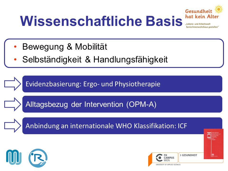 Wissenschaftliche Basis Bewegung & Mobilität Selbständigkeit & Handlungsfähigkeit Alltagsbezug der Intervention (OPM-A) Anbindung an internationale WH