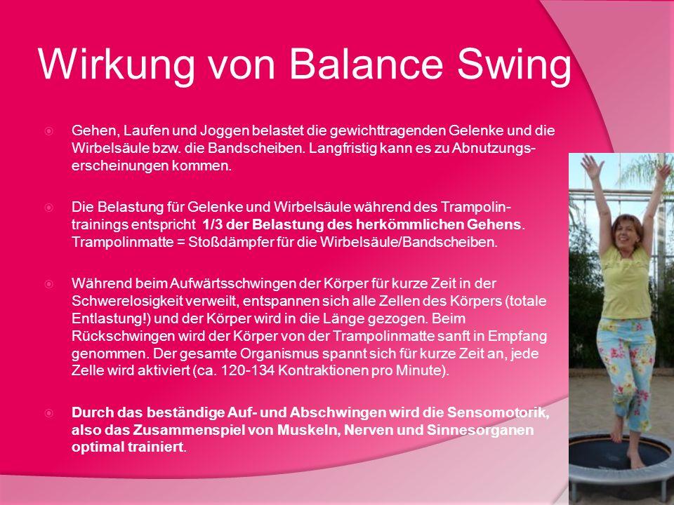 Wirkung von Balance Swing Gehen, Laufen und Joggen belastet die gewichttragenden Gelenke und die Wirbelsäule bzw. die Bandscheiben. Langfristig kann e