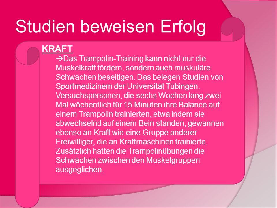 Studien beweisen Erfolg KRAFT Das Trampolin-Training kann nicht nur die Muskelkraft fördern, sondern auch muskuläre Schwächen beseitigen. Das belegen