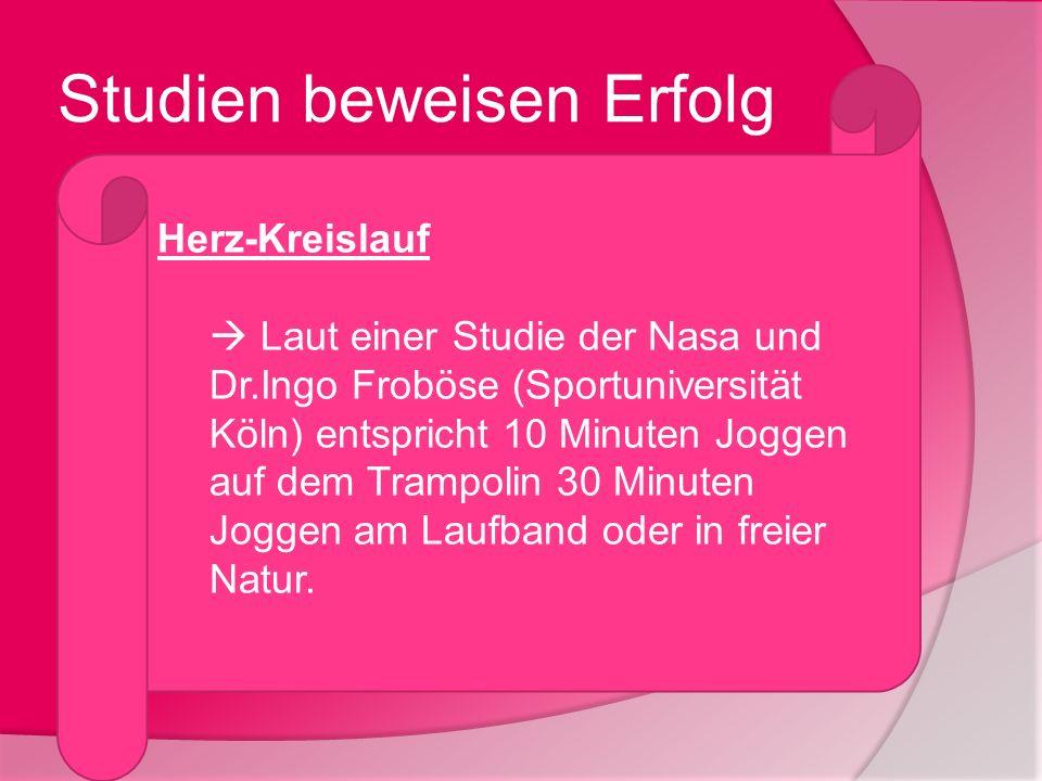 Studien beweisen Erfolg Herz-Kreislauf Laut einer Studie der Nasa und Dr.Ingo Froböse (Sportuniversität Köln) entspricht 10 Minuten Joggen auf dem Tra