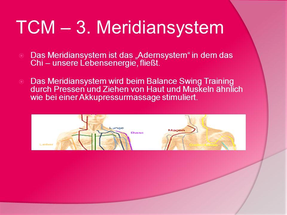 TCM – 3. Meridiansystem Das Meridiansystem ist das Adernsystem in dem das Chi – unsere Lebensenergie, fließt. Das Meridiansystem wird beim Balance Swi