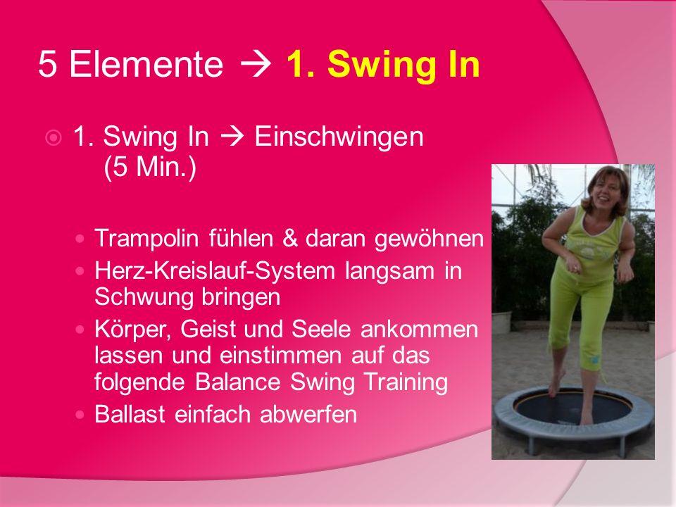 5 Elemente 1. Swing In 1. Swing In Einschwingen (5 Min.) Trampolin fühlen & daran gewöhnen Herz-Kreislauf-System langsam in Schwung bringen Körper, Ge