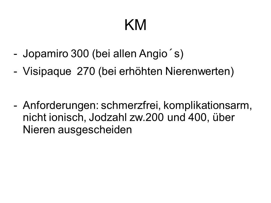 KM -Jopamiro 300 (bei allen Angio´s) -Visipaque 270 (bei erhöhten Nierenwerten) -Anforderungen: schmerzfrei, komplikationsarm, nicht ionisch, Jodzahl