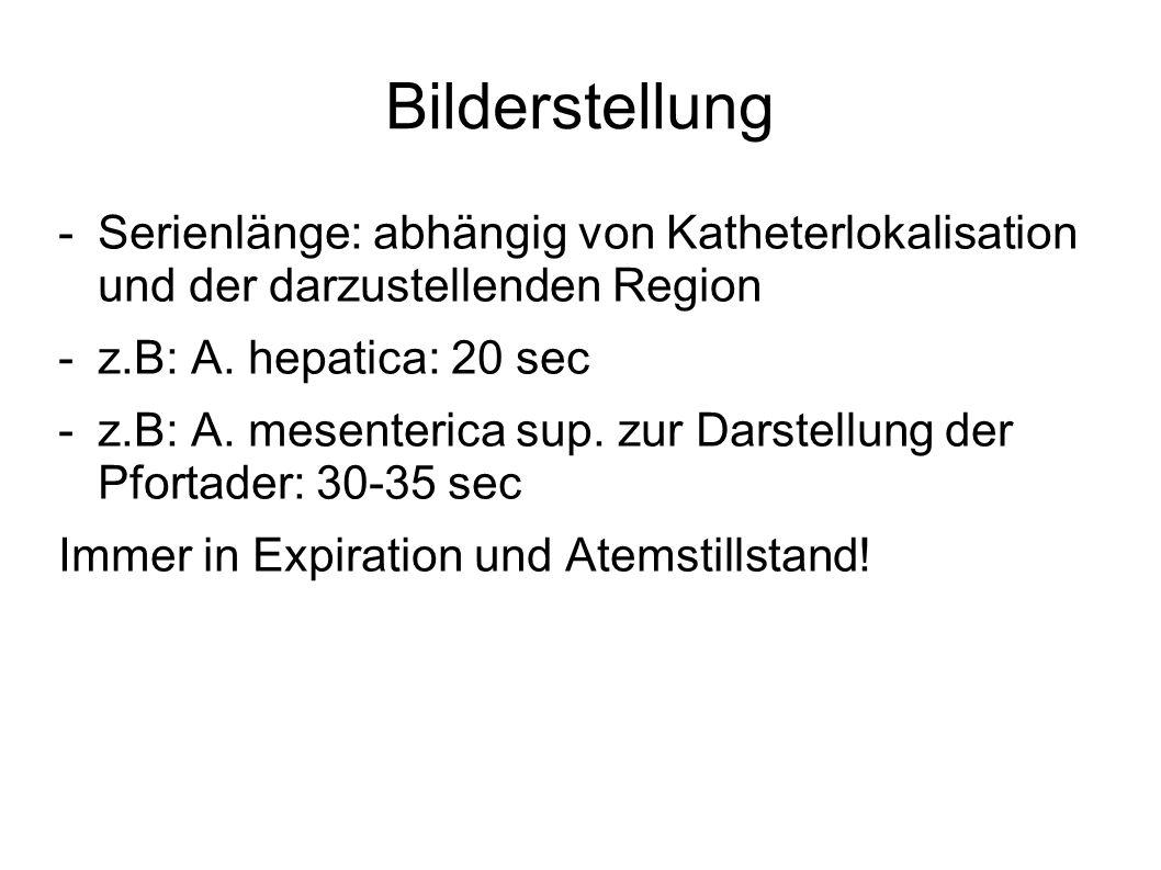 Bilderstellung -Serienlänge: abhängig von Katheterlokalisation und der darzustellenden Region -z.B: A. hepatica: 20 sec -z.B: A. mesenterica sup. zur