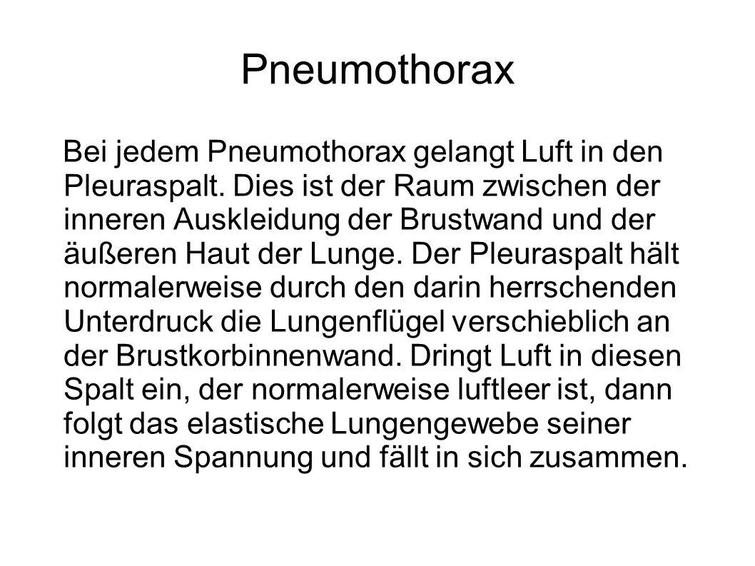 Pneumothorax Bei jedem Pneumothorax gelangt Luft in den Pleuraspalt. Dies ist der Raum zwischen der inneren Auskleidung der Brustwand und der äußeren