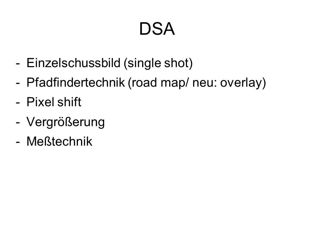 DSA -Einzelschussbild (single shot) -Pfadfindertechnik (road map/ neu: overlay) -Pixel shift -Vergrößerung -Meßtechnik