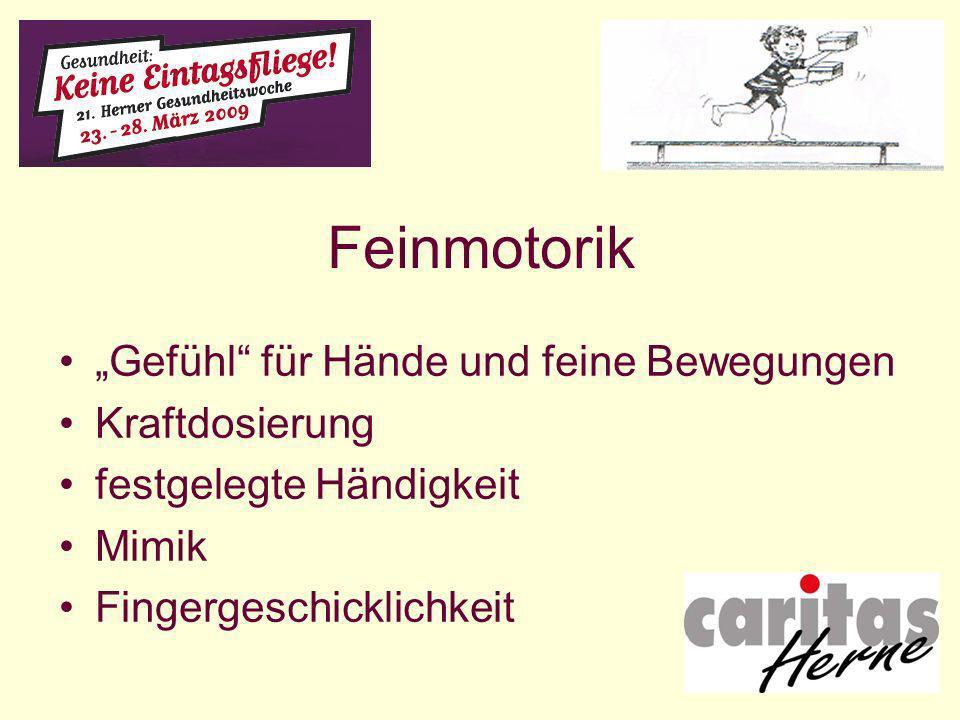 Feinmotorik Gefühl für Hände und feine Bewegungen Kraftdosierung festgelegte Händigkeit Mimik Fingergeschicklichkeit