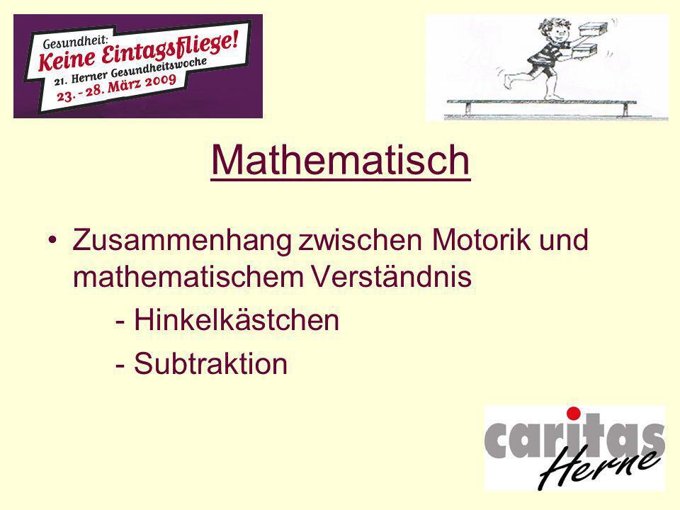 Mathematisch Zusammenhang zwischen Motorik und mathematischem Verständnis - Hinkelkästchen - Subtraktion
