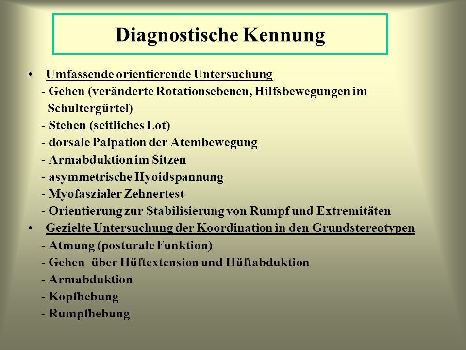 Diagnostische Kennung Umfassende orientierende Untersuchung - Gehen (veränderte Rotationsebenen, Hilfsbewegungen im Schultergürtel) - Stehen (seitlich
