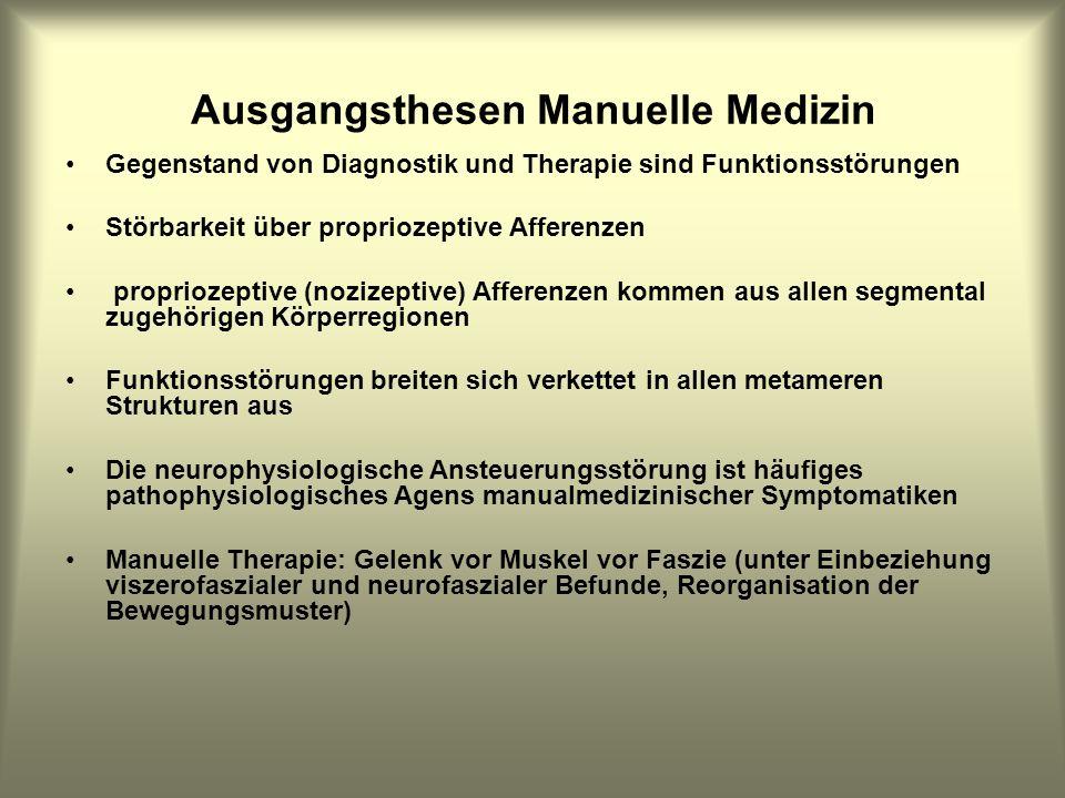 Ausgangsthesen Manuelle Medizin Gegenstand von Diagnostik und Therapie sind Funktionsstörungen Störbarkeit über propriozeptive Afferenzen propriozepti