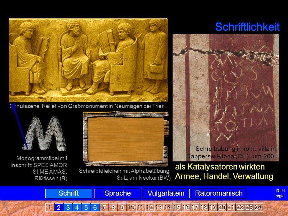 Schriftlichkeit Schulszene.Relief von Grabmonument in Neumagen bei Trier.