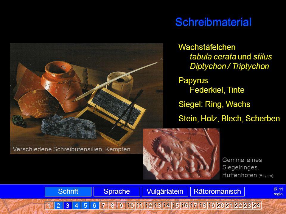 Schreib- und Beschreibmaterial Schreibmaterial Wachstäfelchen tabula cerata und stilus Diptychon / Triptychon Papyrus Federkiel, Tinte Siegel: Ring, Wachs Stein, Holz, Blech, Scherben Gemme eines Siegelringes.