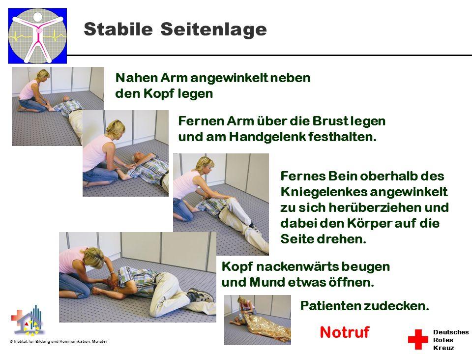 Deutsches Rotes Kreuz © Institut für Bildung und Kommunikation, Münster Nahen Arm angewinkelt neben den Kopf legen Fernes Bein oberhalb des Kniegelenk