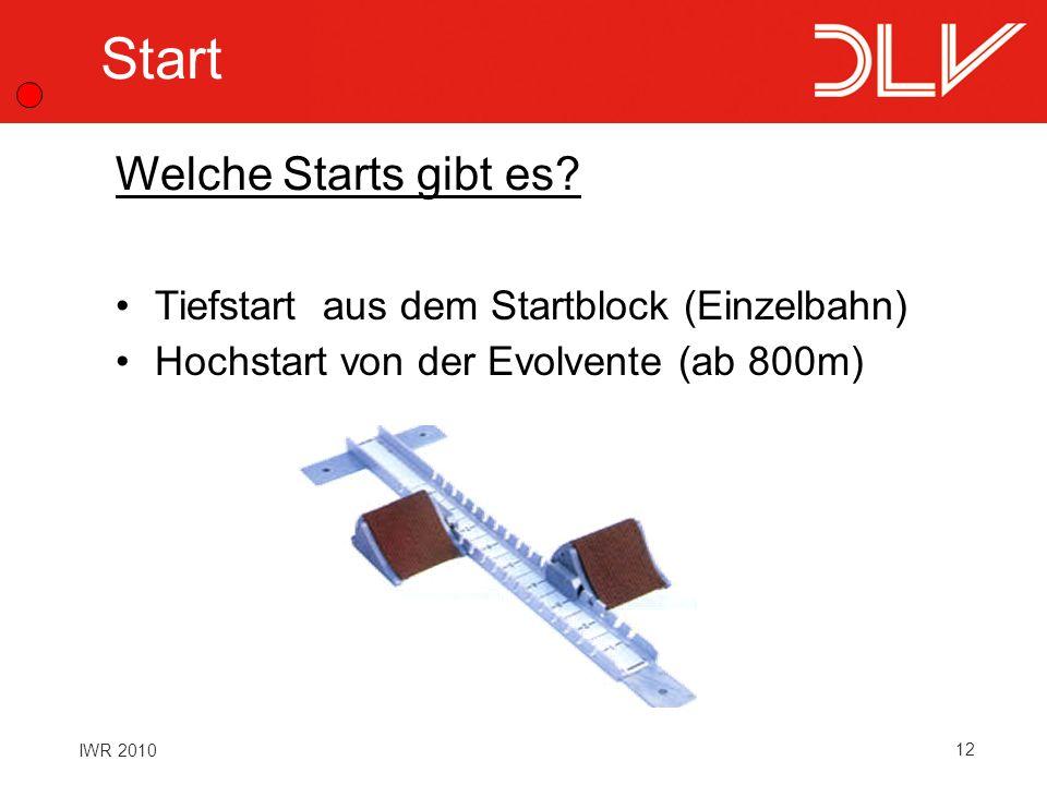 12 IWR 2010 Start Tiefstart aus dem Startblock (Einzelbahn) Hochstart von der Evolvente (ab 800m) Welche Starts gibt es?
