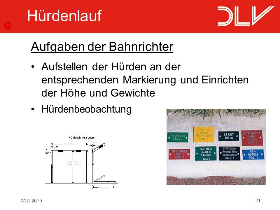 21 IWR 2010 Hürdenlauf Aufstellen der Hürden an der entsprechenden Markierung und Einrichten der Höhe und Gewichte Hürdenbeobachtung Aufgaben der Bahn