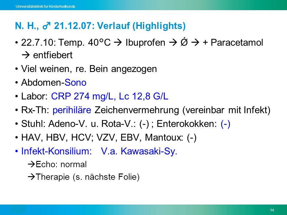 Text14 Universitätsklinik für Kinderheilkunde N. H., 21.12.07: Verlauf (Highlights) 22.7.10: Temp. 40°C Ibuprofen Ǿ + Paracetamol entfiebert Viel wein