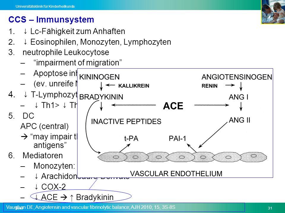 Text31 Universitätsklinik für Kinderheilkunde CCS – Immunsystem 1. Lc-Fähigkeit zum Anhaften 2. Eosinophilen, Monozyten, Lymphozyten 3.neutrophile Leu