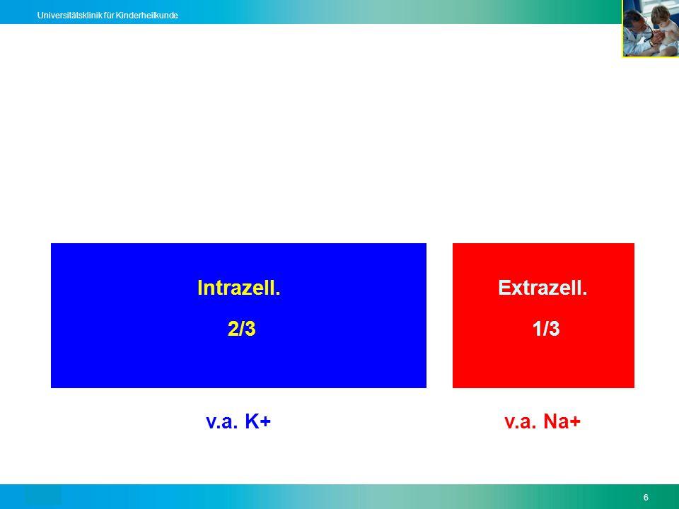 Text6 Universitätsklinik für Kinderheilkunde Intrazell.Extrazell. 2/3 1/3 v.a. K+v.a. Na+